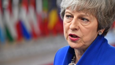 BRUSSELS, BELGIUM - APRIL 10:  Britain's Prime minister Theresa May arrives ahead of a European Council meeting on Brexit at The Europa Building, The European Parliament on April 10, 2019 in Brussels, Belgium. Theresa May formally presents her case to the European Union for a short delay to Brexit until 30 June 2019. The other EU leaders will then then discuss how to respond at a dinner without her. (Photo by Leon Neal/Getty Images)