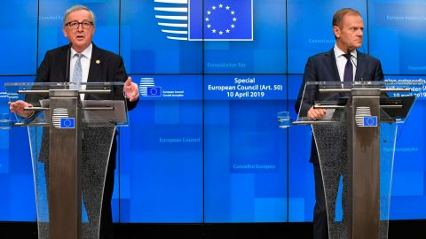 European Council President Donald Tusk, right, and European Commission President Jean-Claude Juncker, left, address reporters after teh summit.