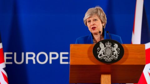 British Prime Minister Theresa May speaks during a media conference at the end of an EU summit in Brussels.
