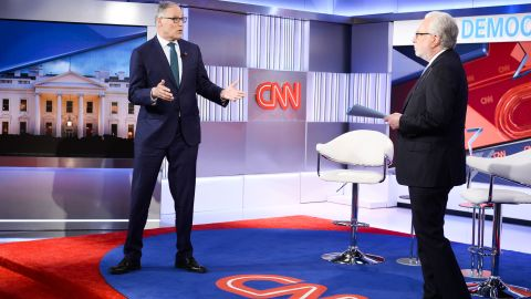 Inslee talks to CNN's Wolf Blitzer during a town-hall event in April 2019.