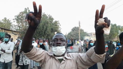 People take part in an anti-government demonstration in Omdurman, Sudan, on January 29.