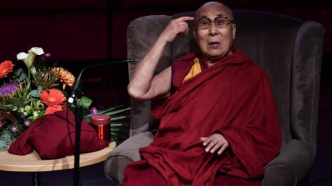 The Dalai Lama gives a public talk in Londonderry, Northern Ireland, in September 2017.