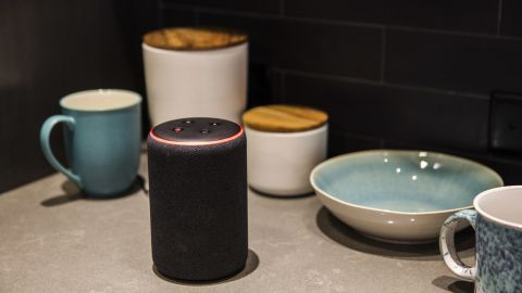 An Amazon Echo Plus smart speaker sits on display during an unveiling event at the Amazon.com Inc. Spheres headquarters in Seattle, Washington, U.S., on Thursday, Sept. 20, 2018. Amazon.com Inc.unveiled its vision for smart homes powered by the Alexa voice assistant, with a dizzying array of new gadgets and features for almost every room in the house -- from a microwave oven to a security camera and wall clock. Photographer: Andrew Burton/Bloomberg via Getty Images
