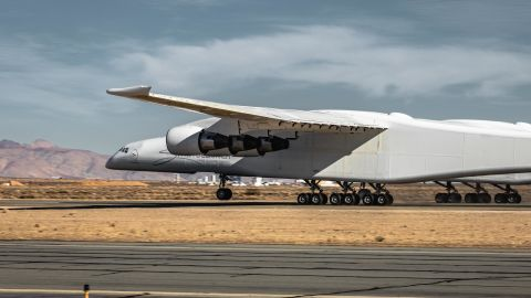 Stratolaunch pops a wheelie during January's high-speed taxi test.