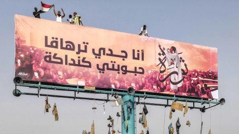 A billboard in Khartoum bears an image of Alaa Salah, a Sudanese woman who became the face of anti-government demonstrations.