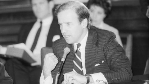 Senator Joseph Biden, D-Del. speaks at the Senate Judiciary Committee hearing on the nomination of Edwin Meese to be Attorney General.