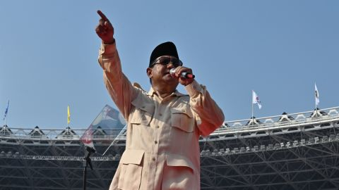 Indonesian presidential candidate Prabowo Subianto during a campaign rally at the Gelora Bung Karno stadium in Jakarta on April 7, 2019.