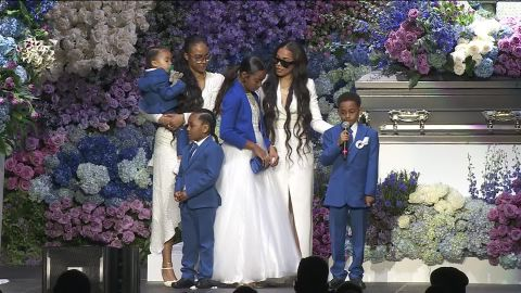 Nipsey Hussle's girlfrend, Lauren London, and their children paid tribute to the beloved rapper.
