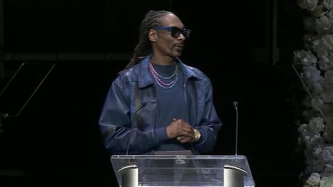 Snoop Dogg speaks at the memorial for  Nipsey Hussle.