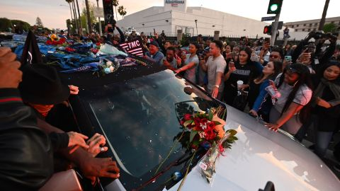 The hearse carrying the remains of rapper Nipsey Hussle arrives at the Angelus Funeral Home.
