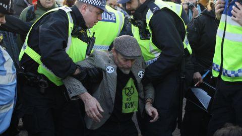 An Extinction Rebellion protester blocking Blackfriars Bridge, in London, November 2018.