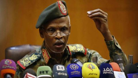 Lt. Gen. Omar Zain al-Abdin, head of the Sudanese military council's political committee, addresses journalists in Khartoum on April 12, one day after Bashir was ousted.