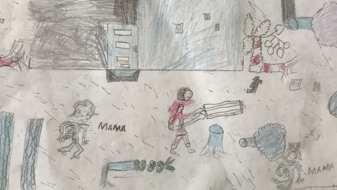 This picture, drawn by Faizal, depicts his home after the cyclone.