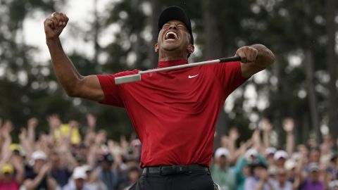 """Tiger Woods punched the air to tumultuous applause and chants of """"Tiger, Tiger"""" as he sealed his 15th major title."""