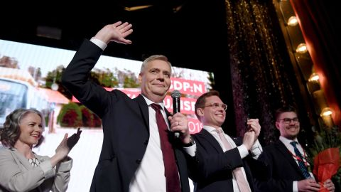 Chairman of the Finnish Social Democratic Party Antti Rinne (center) his wife Heta Ravolainen-Rinne (left) and Party Secretary Antton Rönnholm (second right) celebrate at their election party in Helsinki, Finland on April 14, 2019.