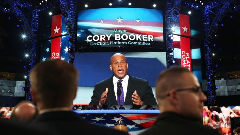 Booker speaks at the Democratic National Convention in September 2012.
