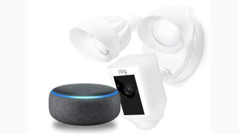 """<a href=""""https://amzn.to/2DflvaF"""" target=""""_blank"""" target=""""_blank""""><strong>Ring Floodlight Cam with Echo Dot ($199.00, originally $298.99; amazon.com)</strong></a>"""