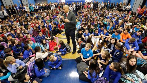 Booker addresses a gathering of students and parents at his childhood school in Harrington Park, New Jersey, in November 2014. He had just been re-elected a day earlier.