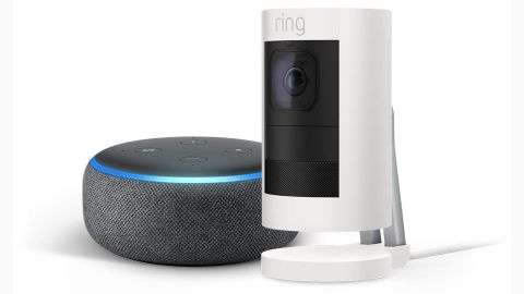 """<a href=""""https://amzn.to/2DhfTfV"""" target=""""_blank"""" target=""""_blank""""><strong>Ring Stick Up Cam with Echo Dot ($149.99, originally $229.98; amazon.com)</strong></a>"""