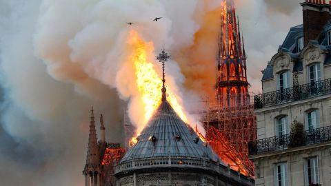 Smoke and flames rise from Notre Dame cathedral on April 15, 2019.