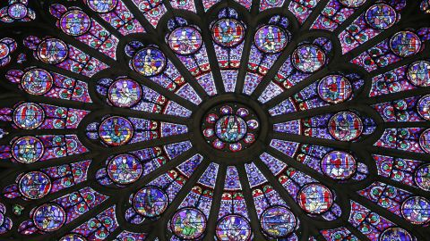 The stained glass on the northern side of the Notre Dame cathedral in Paris.