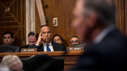 Booker looks on as Scott Pruitt, Oklahoma's attorney general and Donald Trump's pick to run the Environmental Protection Agency, testifies at his confirmation hearing in January 2017.