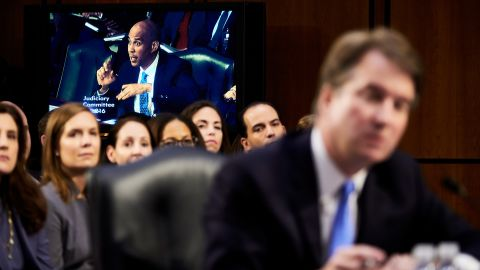 Booker questions Judge Brett Kavanaugh, President Trump's nominee for the US Supreme Court, during Kavanaugh's confirmation hearing in September 2018.