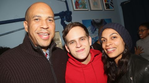 """Booker joins actors Taylor Trensch and Rosario Dawson backstage at the hit Broadway musical """"Dear Evan Hansen"""" in January 2019. Dawson confirmed in March <a href=""""https://edition.cnn.com/2019/03/14/politics/rosario-dawson-cory-booker-dating-couple-confirmed/index.html"""" target=""""_blank"""">that she and Booker were dating.</a>"""