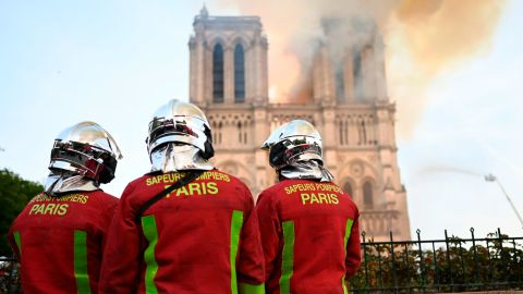 Firefighters worried the cathedral's two bell towers would be destroyed.