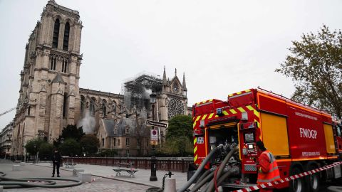 Fire crews continue to secure the cathedral on April 16, 2019.