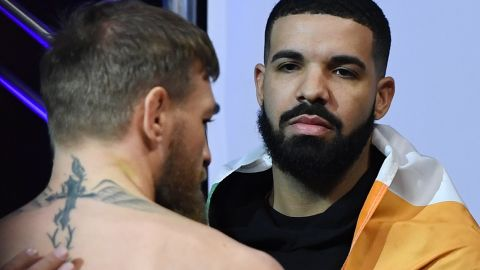 Conor McGregor and rapper Drake attend a ceremonial weigh-in for UFC 229 on October 5, 2018, in Las Vegas.