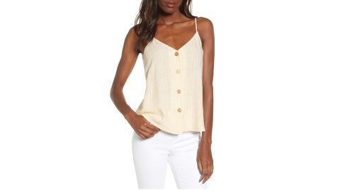 """<strong>BP. Linen Blend Camisole Top ($20.98, originally $35; </strong><a href=""""https://click.linksynergy.com/deeplink?id=Fr/49/7rhGg&mid=1237&u1=0416nordspringsale&murl=https%3A%2F%2Fshop.nordstrom.com%2Fs%2Fbp-linen-blend-camisole-top%2F5303524%3Forigin%3Dcategory-personalizedsort%26breadcrumb%3DHome%252FSale%252FWomen%26color%3Dyellow%2520whip%2520candy%2520stripe"""" target=""""_blank"""" target=""""_blank""""><strong>nordstrom.com</strong></a><strong>) </strong>"""