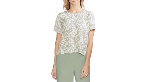 """<strong>Vince Camuto Mixed Print Top ($47.40, originally $79; </strong><a href=""""https://click.linksynergy.com/deeplink?id=Fr/49/7rhGg&mid=1237&u1=0416nordspringsale&murl=https%3A%2F%2Fshop.nordstrom.com%2Fs%2Fvince-camuto-mixed-print-top%2F5171011%3Forigin%3Dcategory-personalizedsort%26breadcrumb%3DHome%252FSale%252FWomen%26color%3Dclassic%2520navy"""" target=""""_blank"""" target=""""_blank""""><strong>nordstrom.com</strong></a><strong>) </strong>"""
