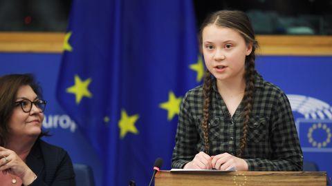 Climate activist Greta Thunberg spoke to a European Parliament committee Tuesday.