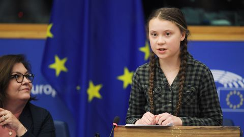 Swedish climate activist Greta Thunberg (R) speaks during a debate with the EU Environment, Public Health and Food Safety Committee during a session at the European Parliament on April 16, 2019 in Strasbourg, eastern France. - Sweden's teenage activist Greta Thunberg on April 16 urged Europeans to vote in next month's elections on behalf of young people like her who cannot yet cast ballots but demand decisive action against climate change. During a visit to the European Parliament in the French city of Strasbourg, Thunberg, 16, told a press conference that time is running out to stop the ravages of global warming. (Photo by FREDERICK FLORIN / AFP)        (Photo credit should read FREDERICK FLORIN/AFP/Getty Images)