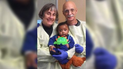 Ja'Ceon, at 3 months old, with doctors at the University of California, San Franciso.