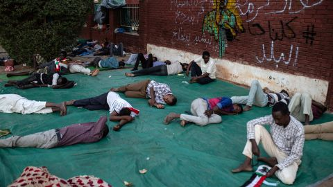 Protesters participate in a sit-in in Khartoum on April 17.