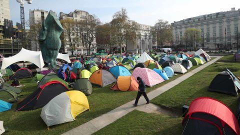Extinction Rebellion demonstrators camp near Marble Arch, London, on April 16.