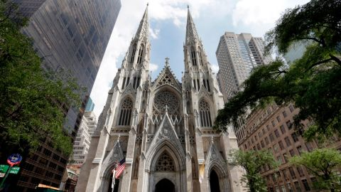 St. Patrick's Cathedral in New York is shown in this photo, Thursday, Sept. 6, 2018. (AP Photo/Richard Drew)