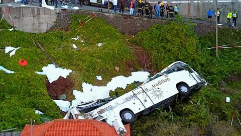 A video grab obtained from drone footage shows the wreckage of a tourist bus that crashed on April 17, 2019 in Canico, on the Portuguese island of Madeira.