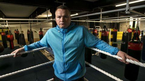 Bradley Welsh in his gym in Edinburgh.