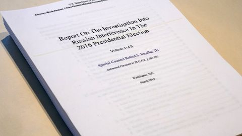 The Report on the Investigation into Russian Interference in the 2016 Presidential Election is pictured in New York, New York, U.S., April 18, 2019.   REUTERS/Carlo Allegri
