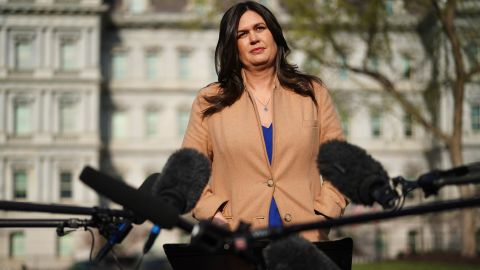 """WASHINGTON, DC - APRIL 04: White House Press Secretary Sarah Huckabee Sanders talks to reporters after talking to FOX News outside the West Wing of the White House April 04, 2019 in Washington, DC. """"Democrats continue to show day in and day out that they're nothing but sore losers,"""" Sanders said. """"I think they're a sad excuse for a political party."""" (Photo by Chip Somodevilla/Getty Images)"""