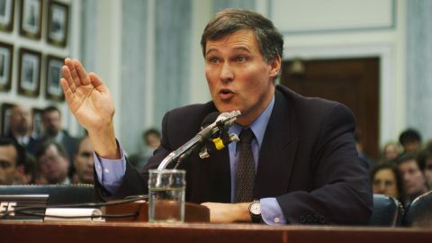 Inslee testifies to the Senate Commerce Committee during a hearing on global warming in 1993. Inslee has focused on climate change for decades, and he compares tackling the issue to President John F. Kennedy's focus on going to the moon.