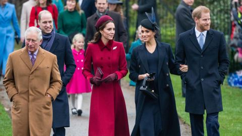 Meghan and Harry attend a Christmas Day church service in December 2018. With them, from left, are Prince Charles; Prince William; and William's wife Catherine, the Duchess of Cambridge. Harry and William are the two sons of Prince Charles and the late Princess Diana.