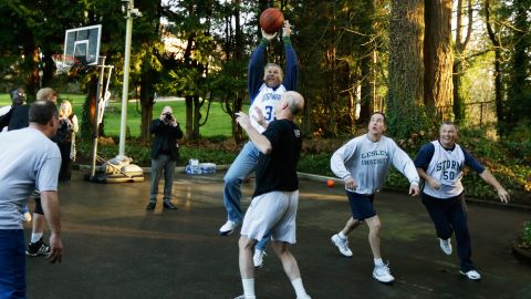 Inslee plays basketball at the governor's mansion on the day he was sworn in.
