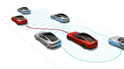 With Navigate on Autopilot, a Tesla car can change to a faster lane on its own.