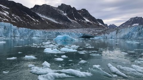 Tidewater glaciers slide through Greenland's valleys, breaking up into icebergs when they meet the ocean.