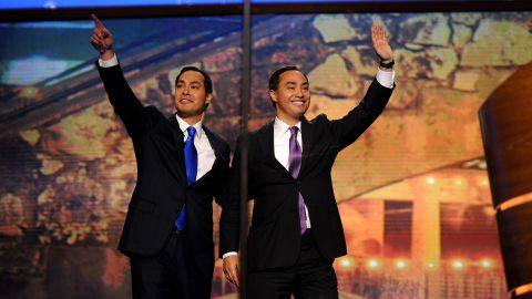 Castro, left, and his brother wave from the stage of the Democratic National Convention. Julian became the first Hispanic ever to deliver the convention's keynote address.