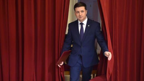 """Zelensky at a shoot for """"Servant of the People"""" in Kiev in March."""
